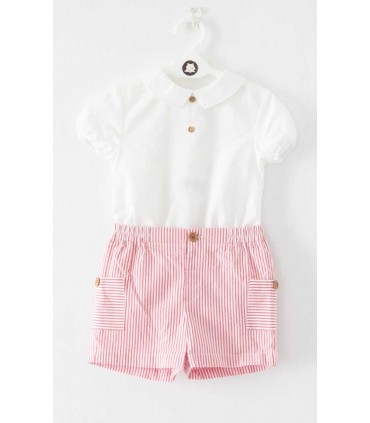 FINA EJERIQUE BABY BOY WHITE AND RED SET