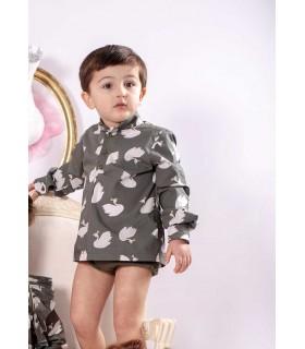 MON PETIT BONBON BABY BOYS SHIRT SWANS