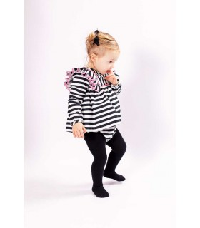 MON PETIT BONBON BABY GIRLS BLACK STRIPES DRESS