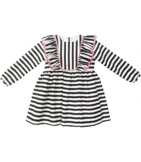 MON PETIT BONBON GIRLS BLACK STRIPES DRESS