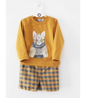 MON PETIT BONBON BOYS CAT SWEATER