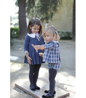 ANCAR LITTLE GIRLS CHECKED BLUE DRESS