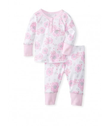 2 pieces 100% cotton baby girls pink pajamas Coccoli