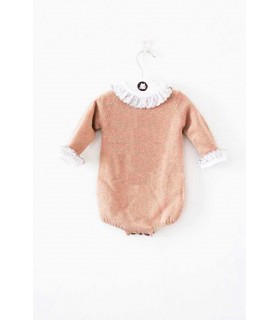 ANCAR BEIGE KNITTED ROMPER WITH WHITE BODY