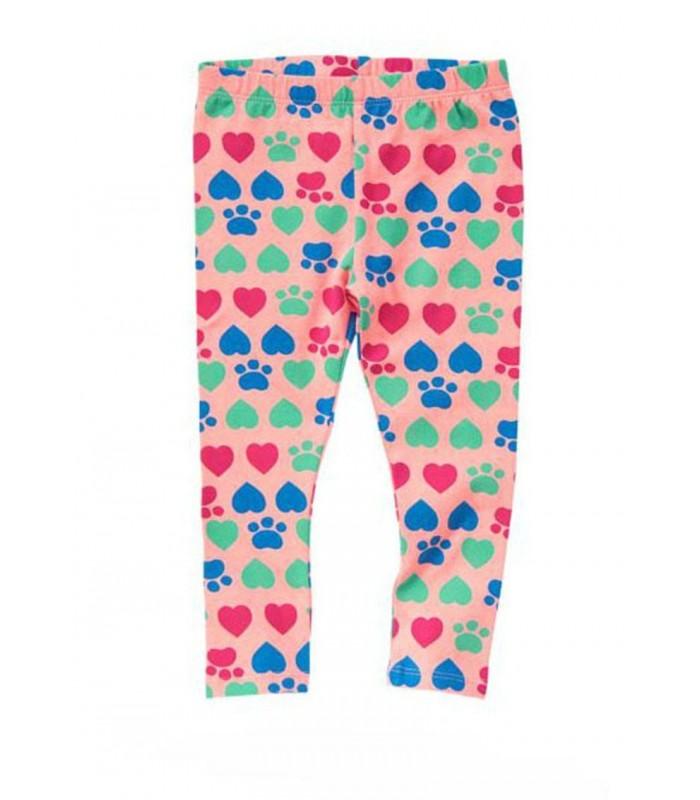 Leggings niña en rosa con estampado de corazones