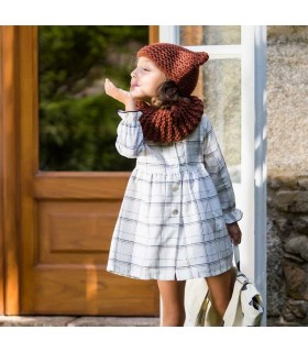 KIDS CHOCOLATE GIRLS CHECKED DRESS LUREX