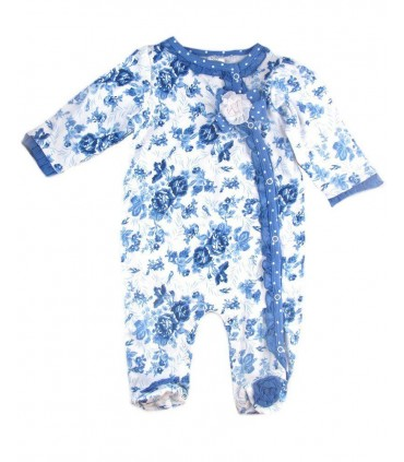 Baby girls blue flowered romper