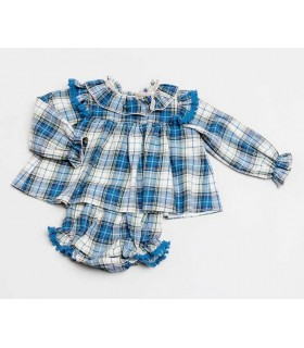 CESAR BLANCO BABY GIRLS BLUE CHECKED DRESS