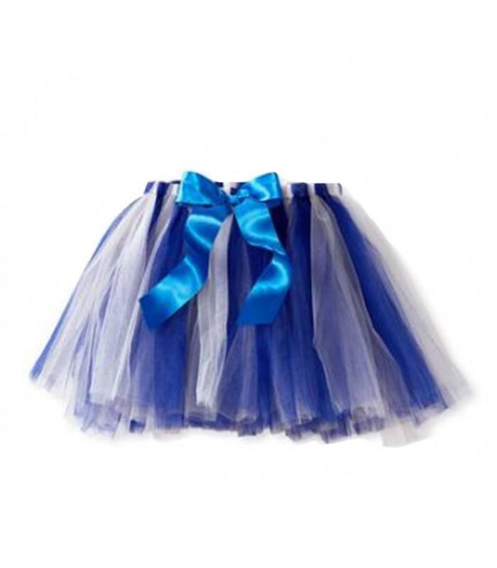 Tutú azul y blanco con lazo