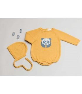 CESAR BLANCO BABY MUSTARD ROMPER PANDA