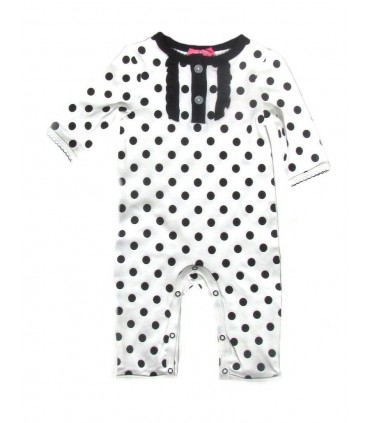 Long sleeves black dots romper for babies 100% cotton