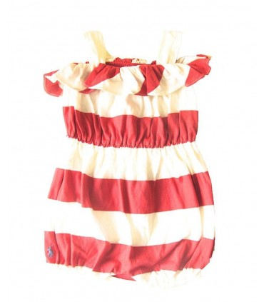 White and red stripes romper for girls by Ralph Lauren