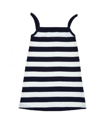 Navy blue stripes toddler girl dress 100% organic cotton Under The Nile