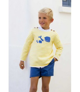 KIDS CHOCOLATE BOYS WHALES STRIPES SWEATER