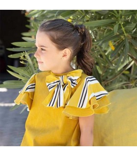 EVE CHILDREN GIRLS MUSTARD DRESS WITH FRILLS BEE