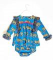 MON PETIT BONBON BABY GIRLS BLUE DRESS LEOPARDS