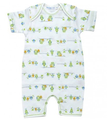 Short sleeves owl romper 100% organic cotton Under the Nile