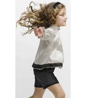 Conjunto niña camisa palmeras y bermudas sarga negra de Nueces Kids