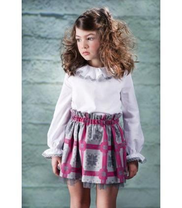 Conjunto niña falda rosa y camisa blanca jose varon