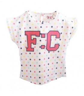 Camiseta bebé niña blanca con lunares de French Connection