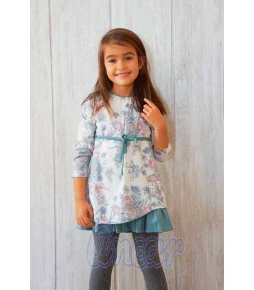 Vestido niña flores y lazo de Ancar