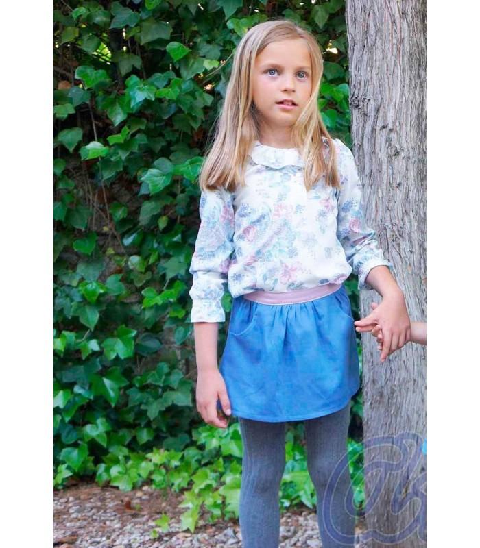 Conjunto blusa de flores y falda niña de Ancar