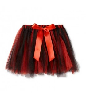 Red and black tutu with ribbon