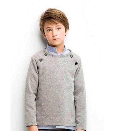 Sudadera niño en gris con botones en hombro de Nueces Kids