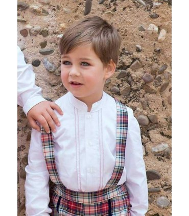 Scottish Tartan overalls and shirt baby boys set