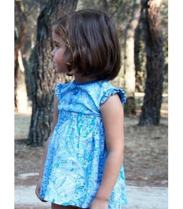 Vestido niña en tela azul cachemir de Ancar