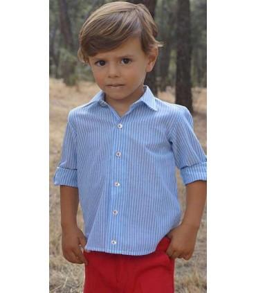 Conjunto niño camisa rayas azules y blancas y bermudas rojas Ancar