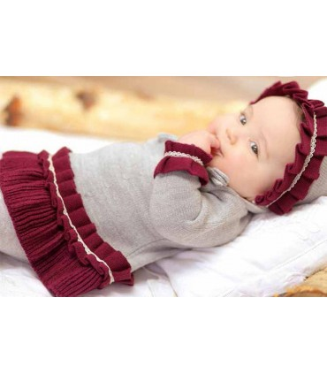 Robe gris et grenat tricotée bébé fille FOQUE