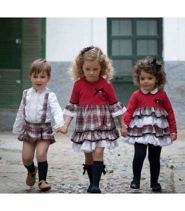Vestido bebe niña rojo cuadros de MARTA Y PAULA