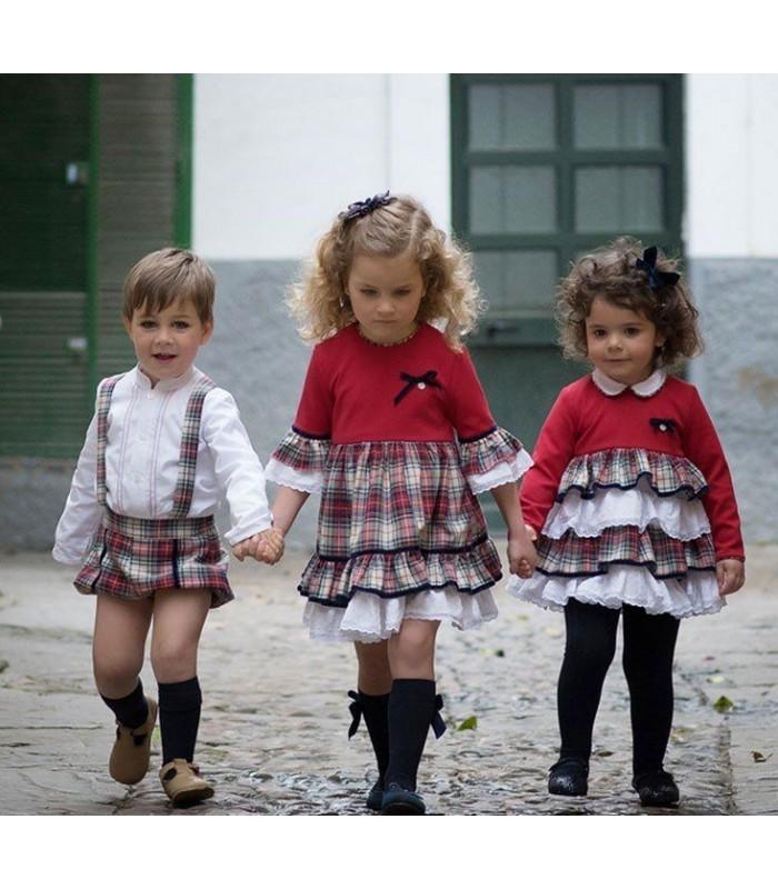Conjunto bebé niño camisa y peto escocés Marta Y Paula