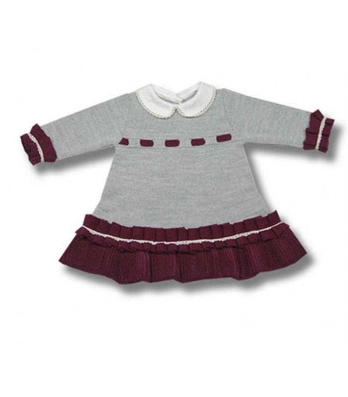 Vestido bebe niña punto en gris y granate colección FOQUE