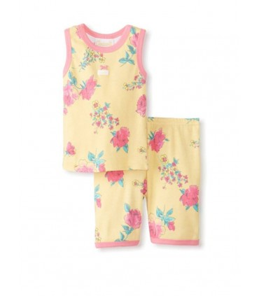 Yellow 2 pieces pajamas 100% cotton Coccoli