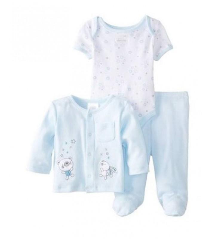Conjunto bebé tres piezas 100% algodón Absorba