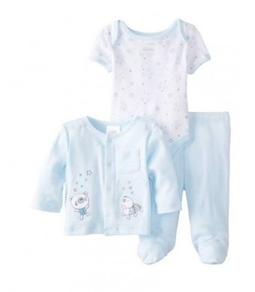 Ensemblé bebe 3 pieces 100% coton Absorba