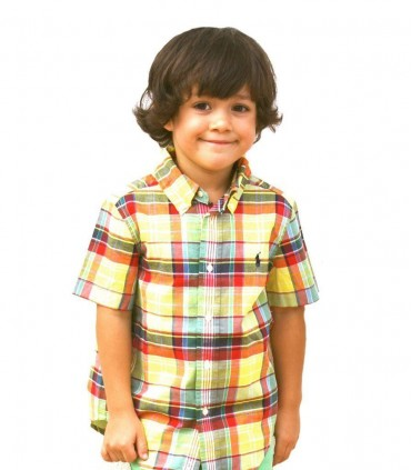 Boys Yellow Plaid Shirt by Ralph Lauren