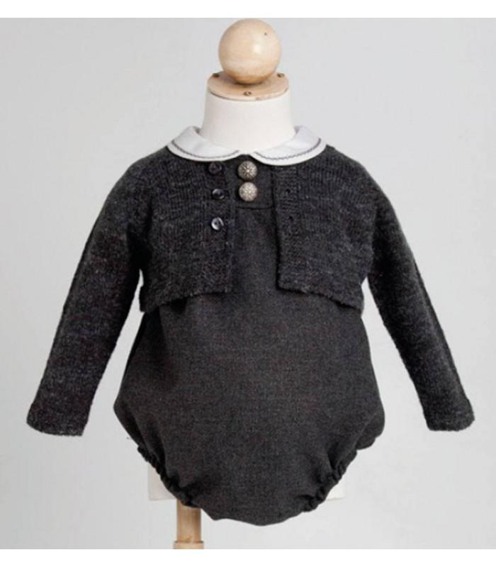 Chaqueta gris marengo bebe de punto Fina Ejerique