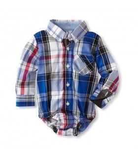 Andy & Evan Check Baby shirt (Light Blue)