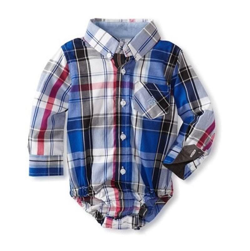 b955e7185 Camisa azul y blanca de cuadros y rayas de bebé niño Andy and Evan