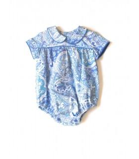Grenouillére bébé en bleu cachemir Ancar