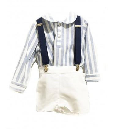 Ensemble bébé garçon chemise et pantalon breteles en blanc et bleu indigo ANCAR