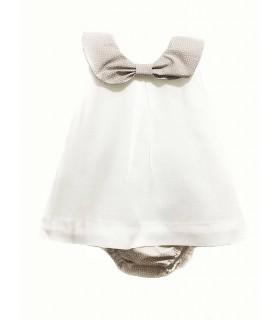 Conjunto braguita y vestido niña en blanco y color piedra de ANCAR