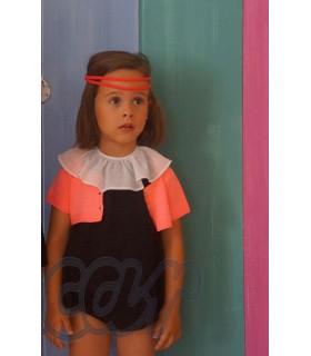 Girls black romper with pink short sleeve cardigan ANCAR