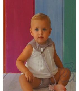 Ensemble culotte et robe bébé fille en blanc et pierre ANCAR