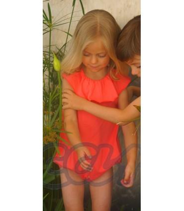 Grenouillére petite fille en orange au bain ANCAR
