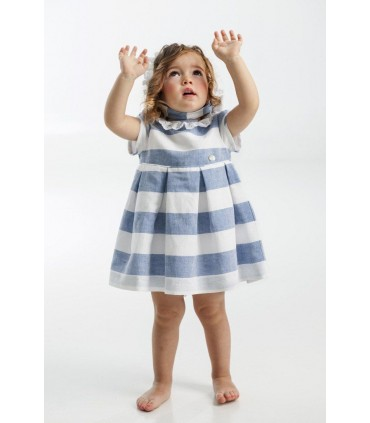 Blue stripes baby girl dress with bonnet set Jose Varon