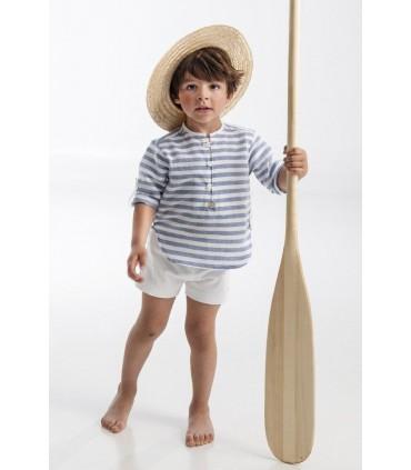 Conjunto niño pequeño de camisa rayas azules de José Varón